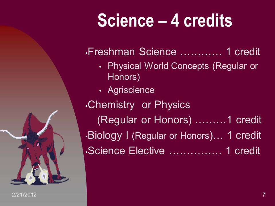 Science – 4 credits Freshman Science ………… 1 credit Physical World Concepts (Regular or Honors) Agriscience Chemistry or Physics (Regular or Honors) ………1 credit Biology I (Regular or Honors )… 1 credit Science Elective …………… 1 credit 72/21/2012