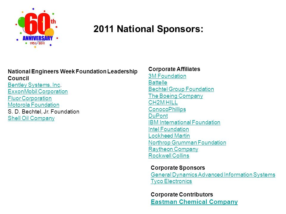 2011 National Sponsors: Corporate Affiliates 3M Foundation Battelle Bechtel Group Foundation The Boeing Company CH2M HILL ConocoPhillips DuPont IBM In