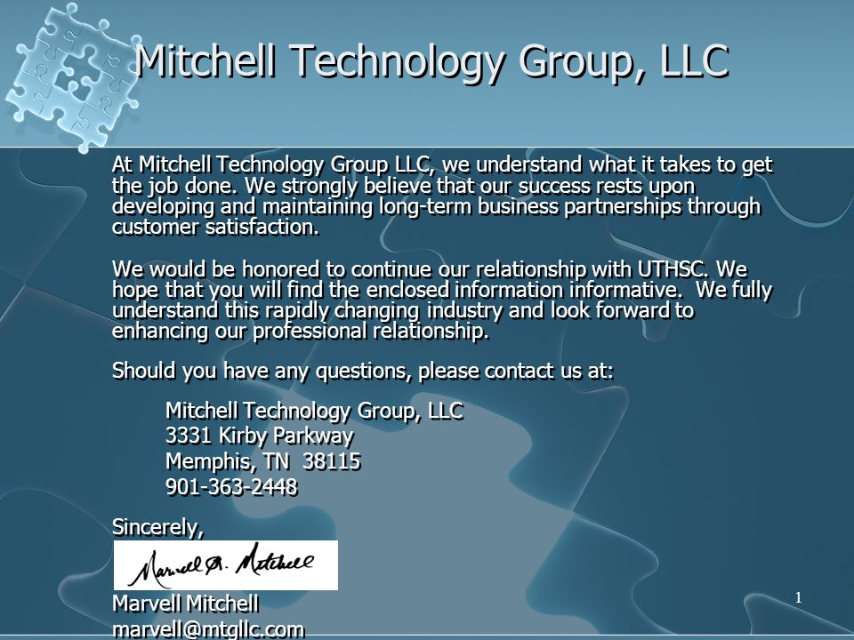 1 Mitchell Technology Group, LLC At Mitchell Technology Group LLC, we understand what it takes to get the job done.