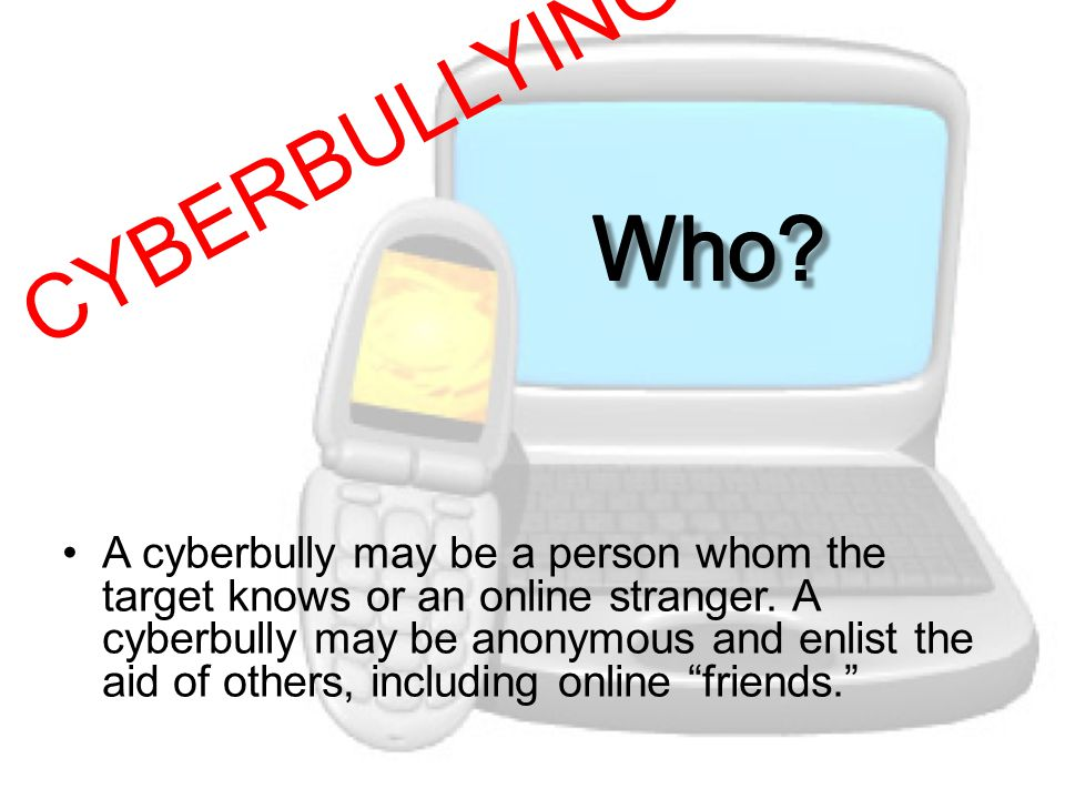 A cyberbully may be a person whom the target knows or an online stranger.