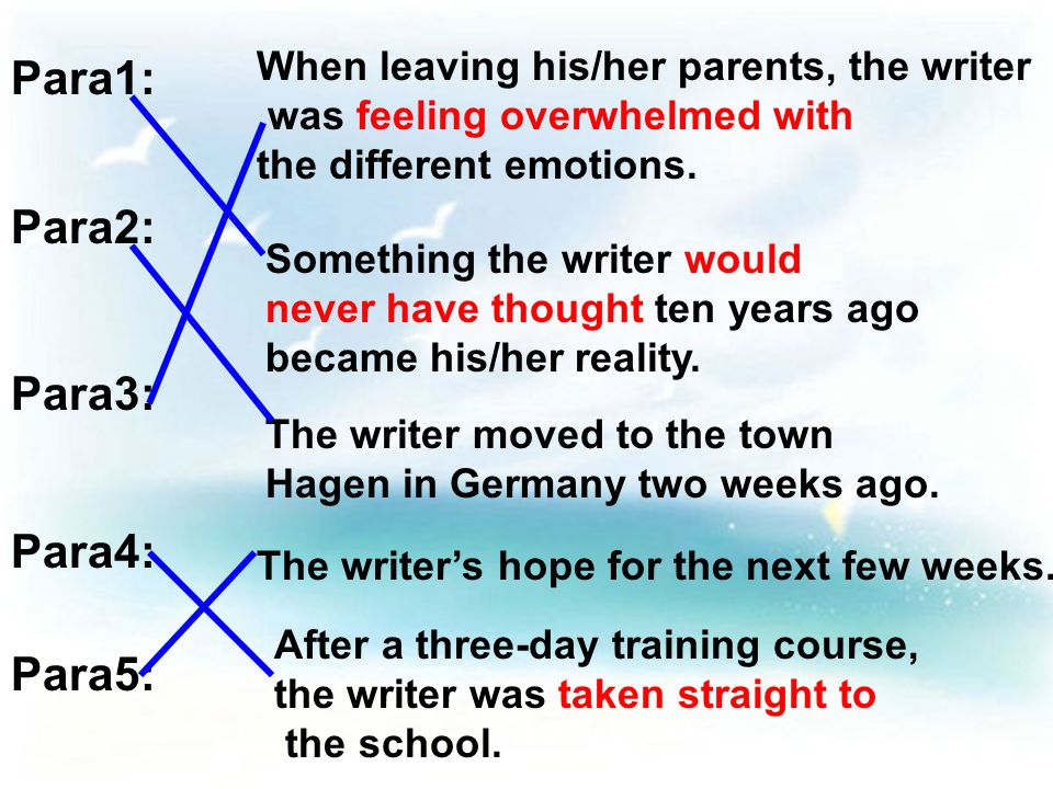 Para4: After a three-day training course, the writer was taken straight to the school.