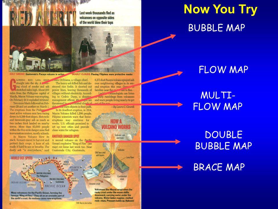 BRACE MAP BUBBLE MAP FLOW MAP MULTI- FLOW MAP DOUBLE BUBBLE MAP Now You Try