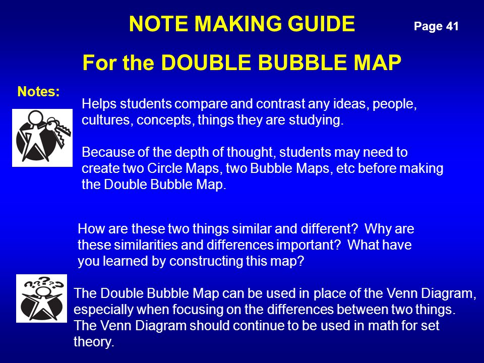 Page 41 NOTE MAKING GUIDE For the DOUBLE BUBBLE MAP How are these two things similar and different? Why are these similarities and differences importa