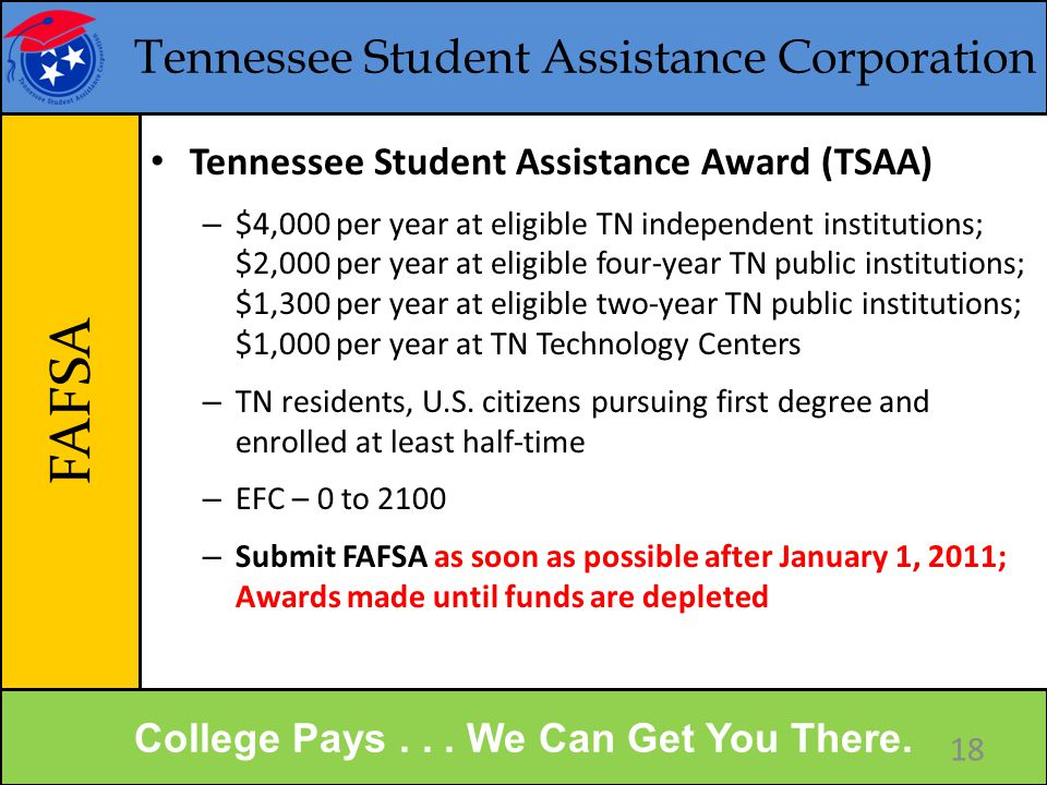 Tennessee Student Assistance Corporation FAFSA College Pays...