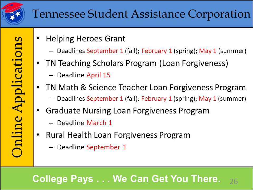 Tennessee Student Assistance Corporation Senior Year Summary College Pays...