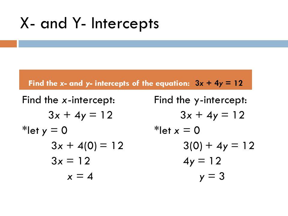 X- and Y- Intercepts Find the x-intercept: 3x + 4y = 12 *let y = 0 3x + 4(0) = 12 3x = 12 x = 4 Find the y-intercept: 3x + 4y = 12 *let x = 0 3(0) + 4