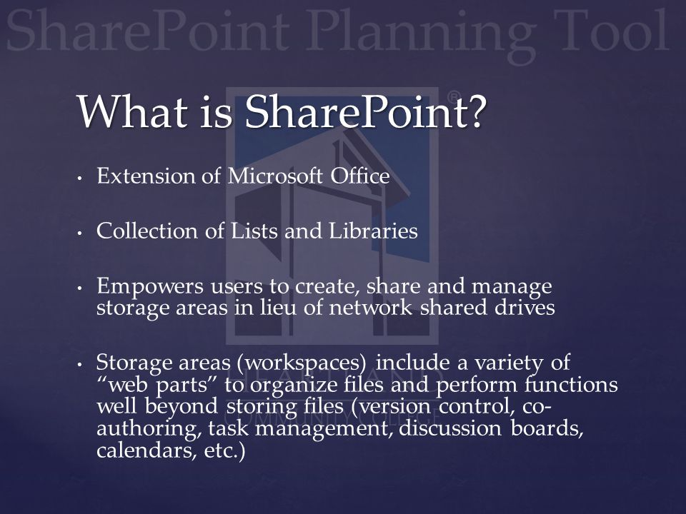Extension of Microsoft Office Collection of Lists and Libraries Empowers users to create, share and manage storage areas in lieu of network shared dri