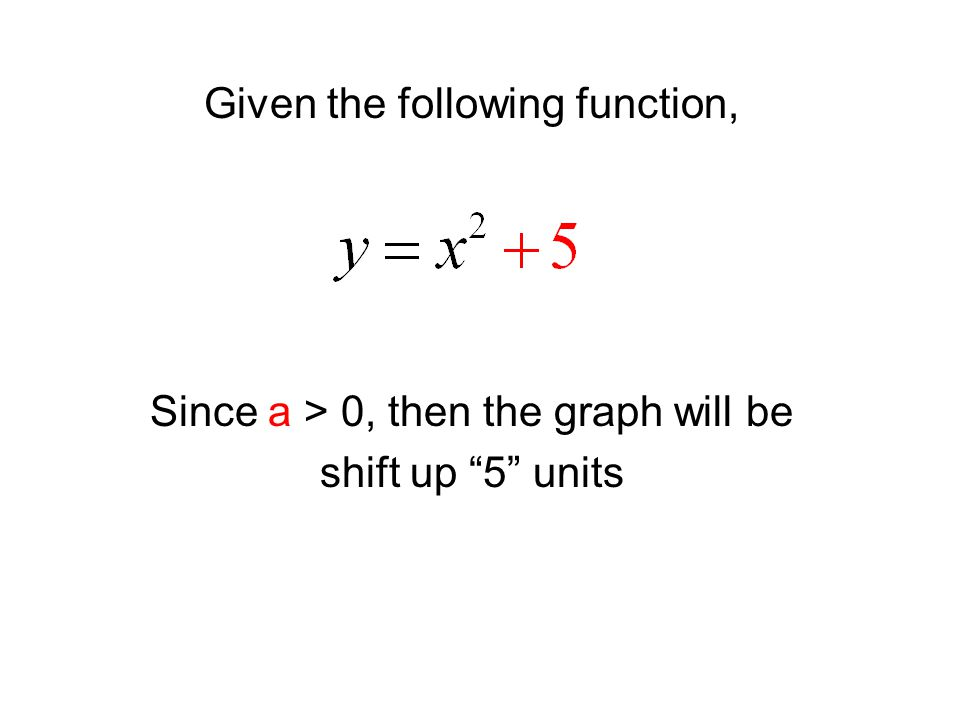 Given the following function, Since a > 0, then the graph will be shift up 5 units