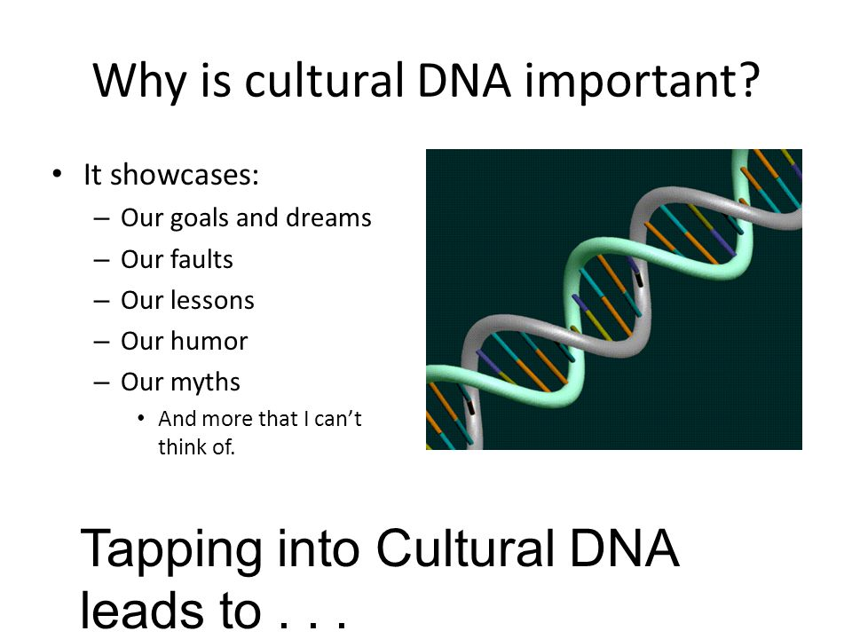 Why is cultural DNA important? It showcases: – Our goals and dreams – Our faults – Our lessons – Our humor – Our myths And more that I can't think of.