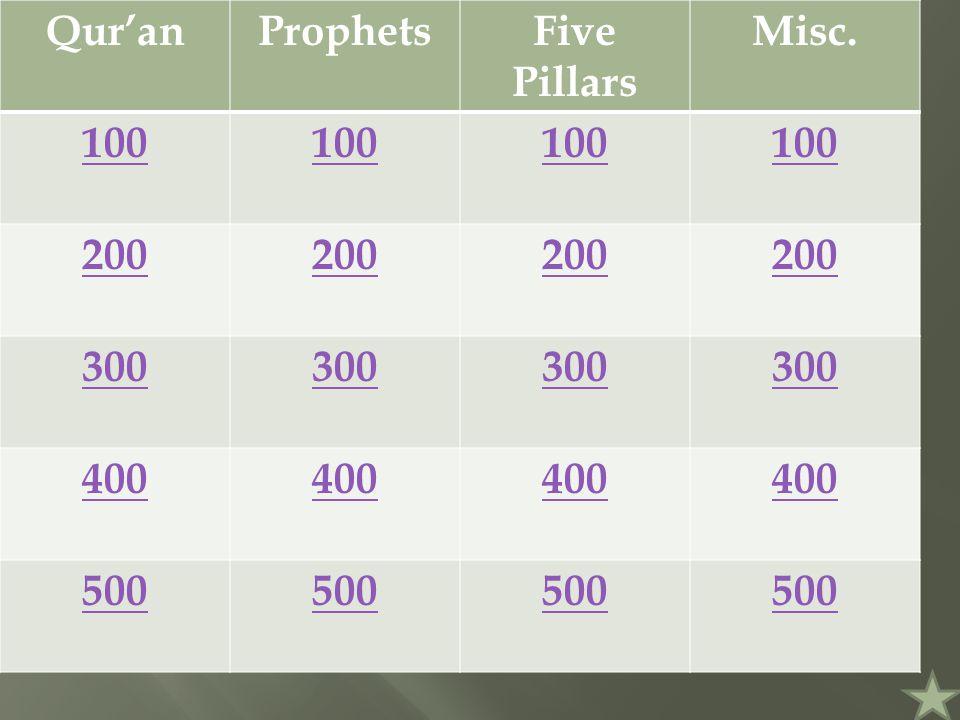 Qur'anProphetsFive Pillars Misc. 100 200 300 400 500