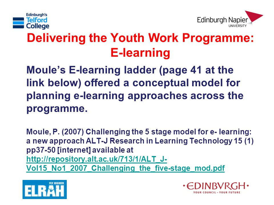 Delivering the Youth Work Programme: E-learning Moule's E-learning ladder (page 41 at the link below) offered a conceptual model for planning e-learni