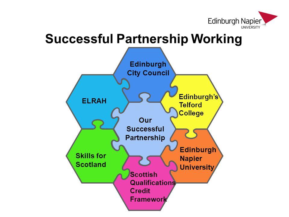 Edinburgh City Council ELRAH Edinburgh Napier University Edinburgh's Telford College Skills for Scotland Scottish Qualifications Credit Framework Our Successful Partnership Successful Partnership Working