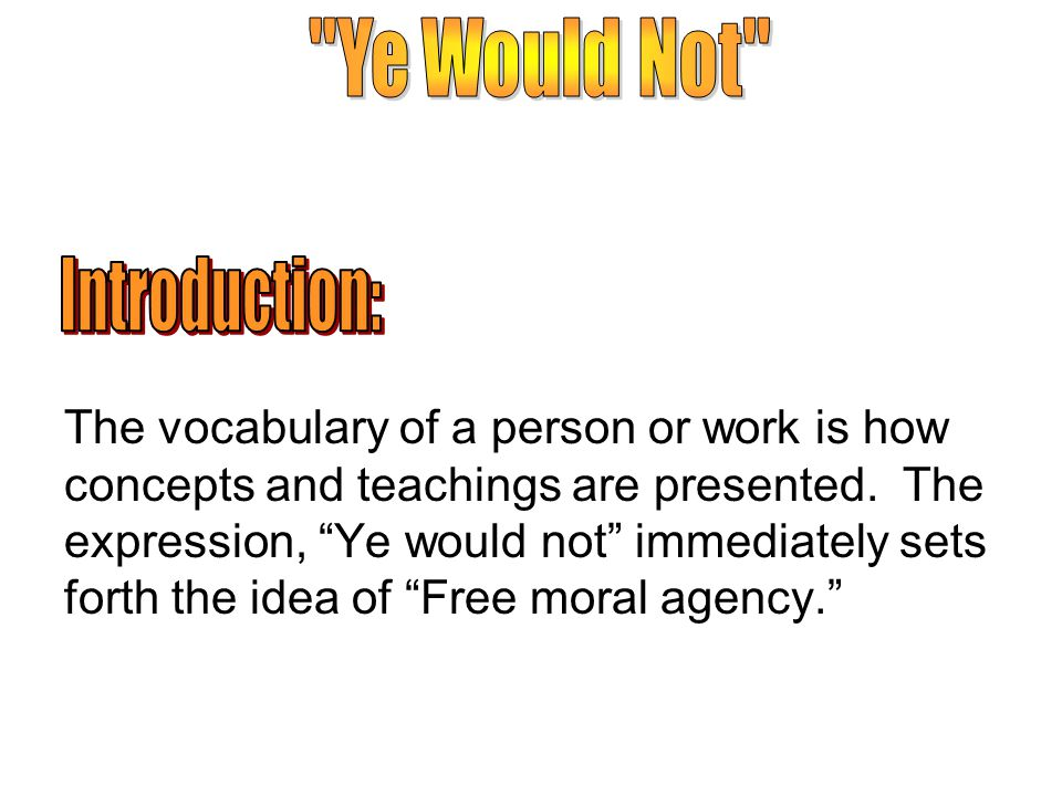 The vocabulary of a person or work is how concepts and teachings are presented.