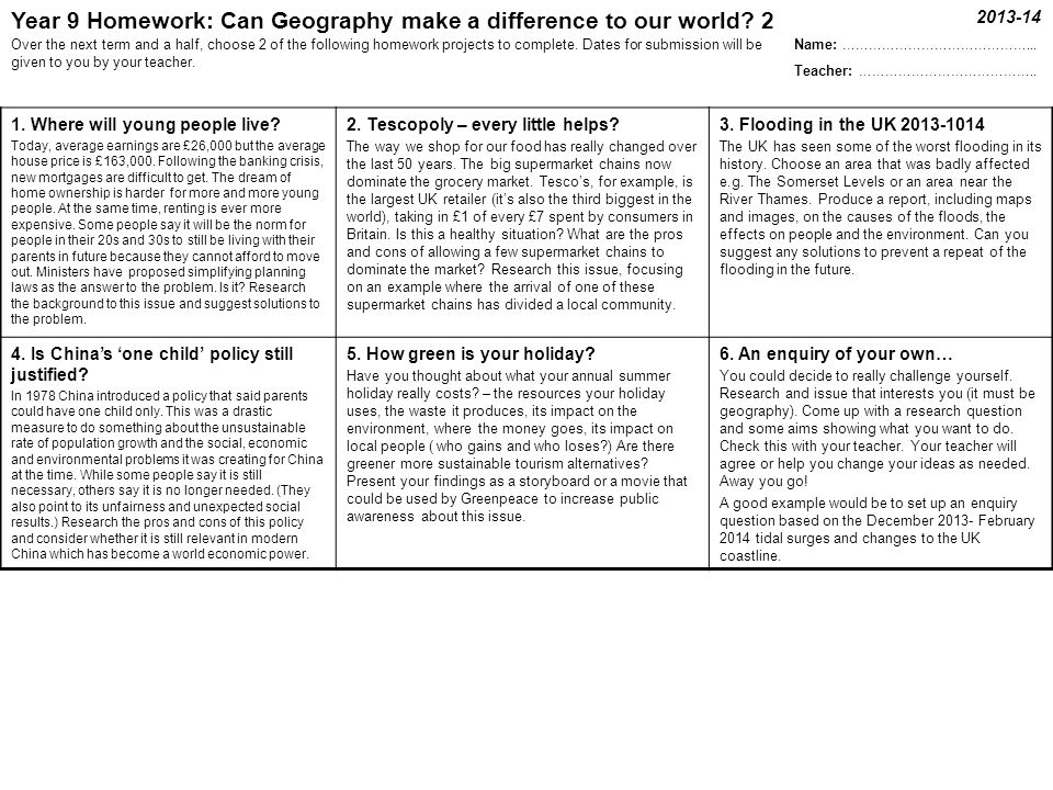 Year 9 Geography Enquiry Homework 2 Year 9 Geography Enquiry Homework 2013-14 Homework is not the most appealing aspect of school, but it helps you to progress, teaches independent study skills and has to be done.