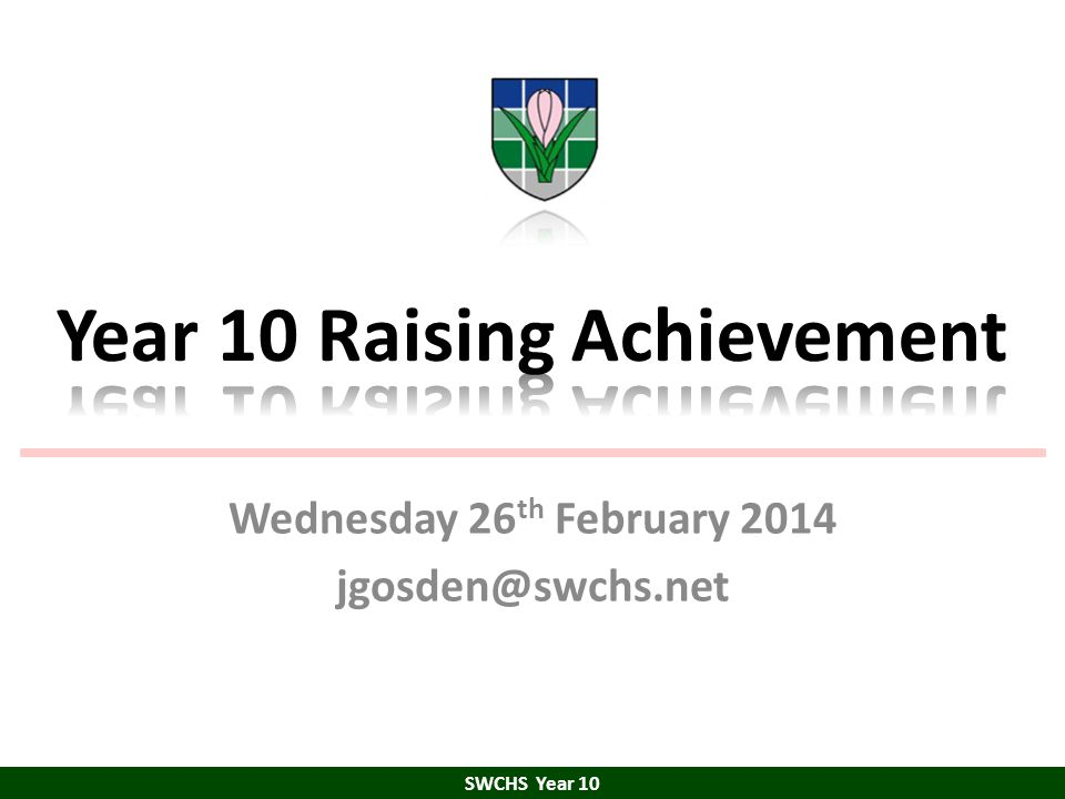 Resilience SWCHS Year 10 Stay Positive Practise Persist Persevere Stay involved Don't give up Fail well