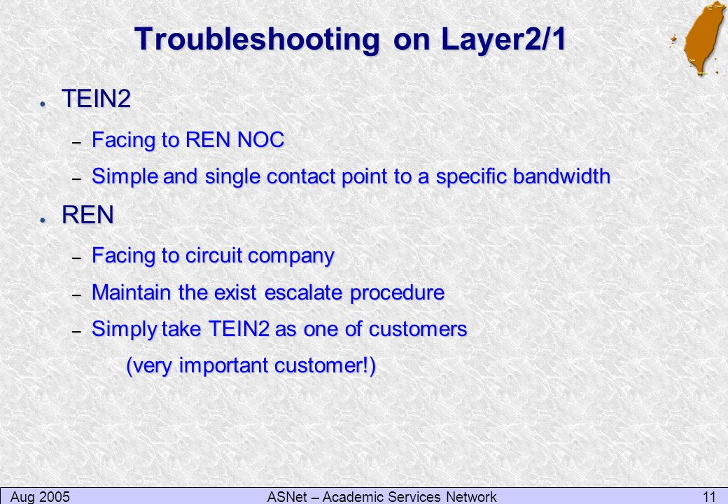 Aug 200511ASNet – Academic Services Network Troubleshooting on Layer2/1 ● TEIN2 – Facing to REN NOC – Simple and single contact point to a specific bandwidth ● REN – Facing to circuit company – Maintain the exist escalate procedure – Simply take TEIN2 as one of customers (very important customer!)