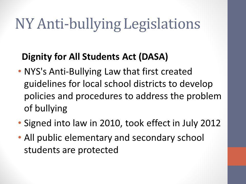 NY Anti-bullying Legislations Dignity for All Students Act (DASA) NYS s Anti-Bullying Law that first created guidelines for local school districts to develop policies and procedures to address the problem of bullying Signed into law in 2010, took effect in July 2012 All public elementary and secondary school students are protected