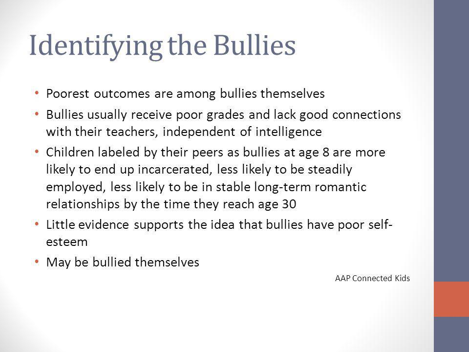 Identifying the Bullies Poorest outcomes are among bullies themselves Bullies usually receive poor grades and lack good connections with their teachers, independent of intelligence Children labeled by their peers as bullies at age 8 are more likely to end up incarcerated, less likely to be steadily employed, less likely to be in stable long-term romantic relationships by the time they reach age 30 Little evidence supports the idea that bullies have poor self- esteem May be bullied themselves AAP Connected Kids