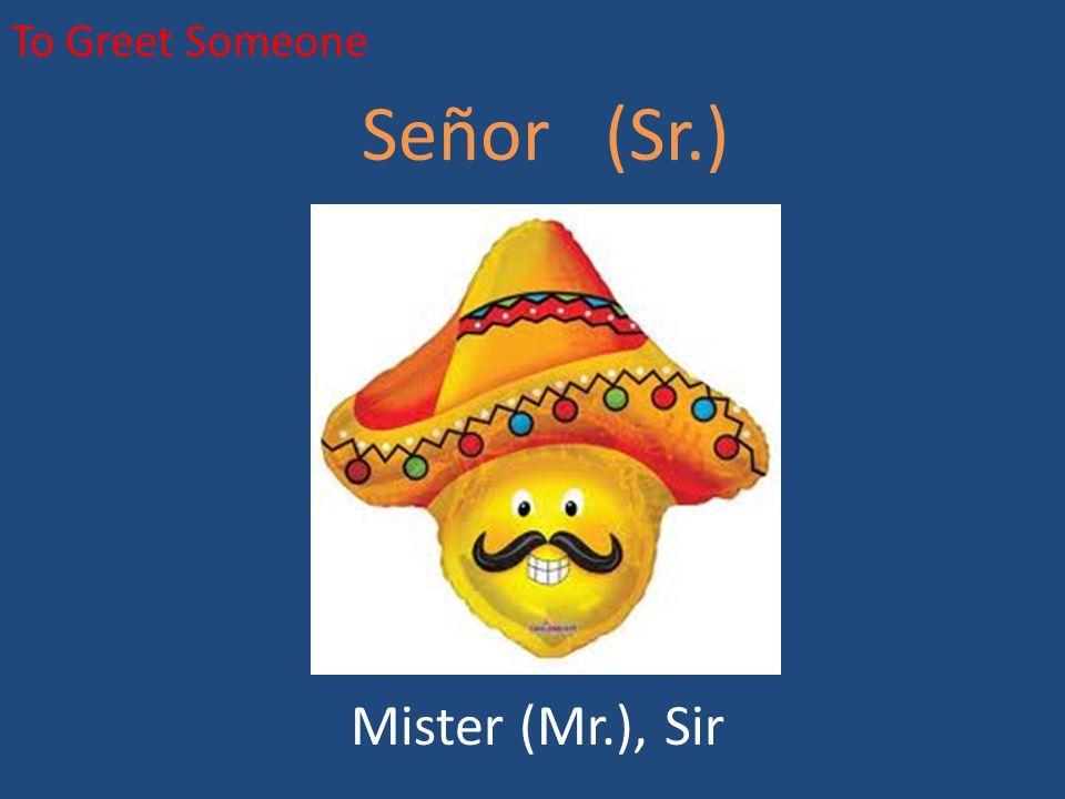 To Greet Someone Señor (Sr.) Mister (Mr.), Sir