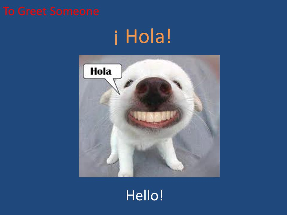 To Greet Someone ¿Cómo te llamas? What is your name?