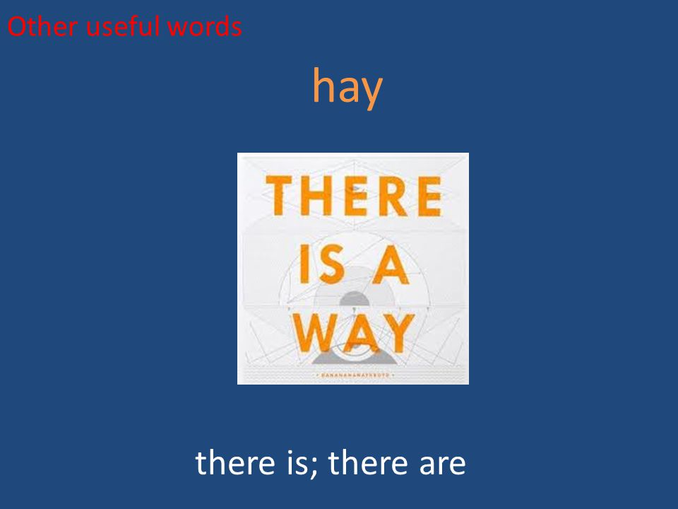 Other useful words hay there is; there are