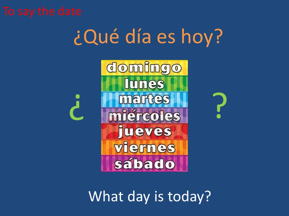 To say the date ¿Qué día es hoy? What day is today? ¿ ¿