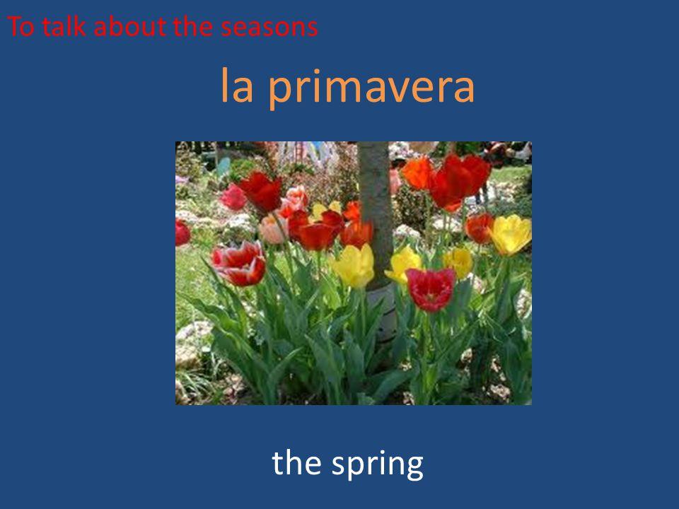 To talk about the seasons la primavera the spring