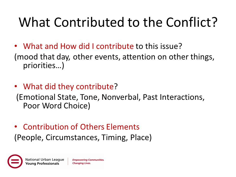 What Contributed to the Conflict. What and How did I contribute to this issue.