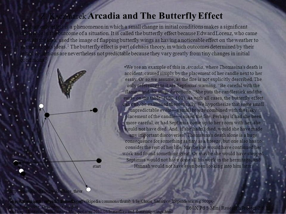 Z. Kaczmarek Arcadia and The Butterfly Effect We see an example of this in Arcadia, where Thomasina's death is accident, caused simply by the placemen