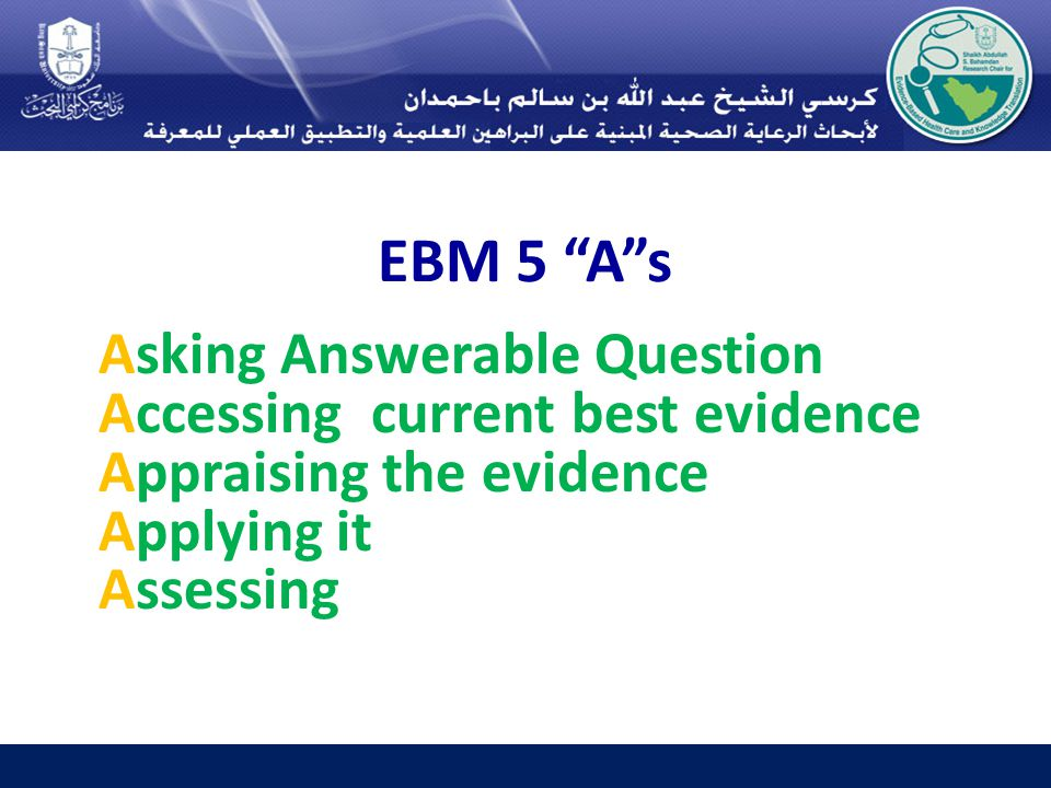 EBM 5 A s Asking Answerable Question Accessing current best evidence Appraising the evidence Applying it Assessing