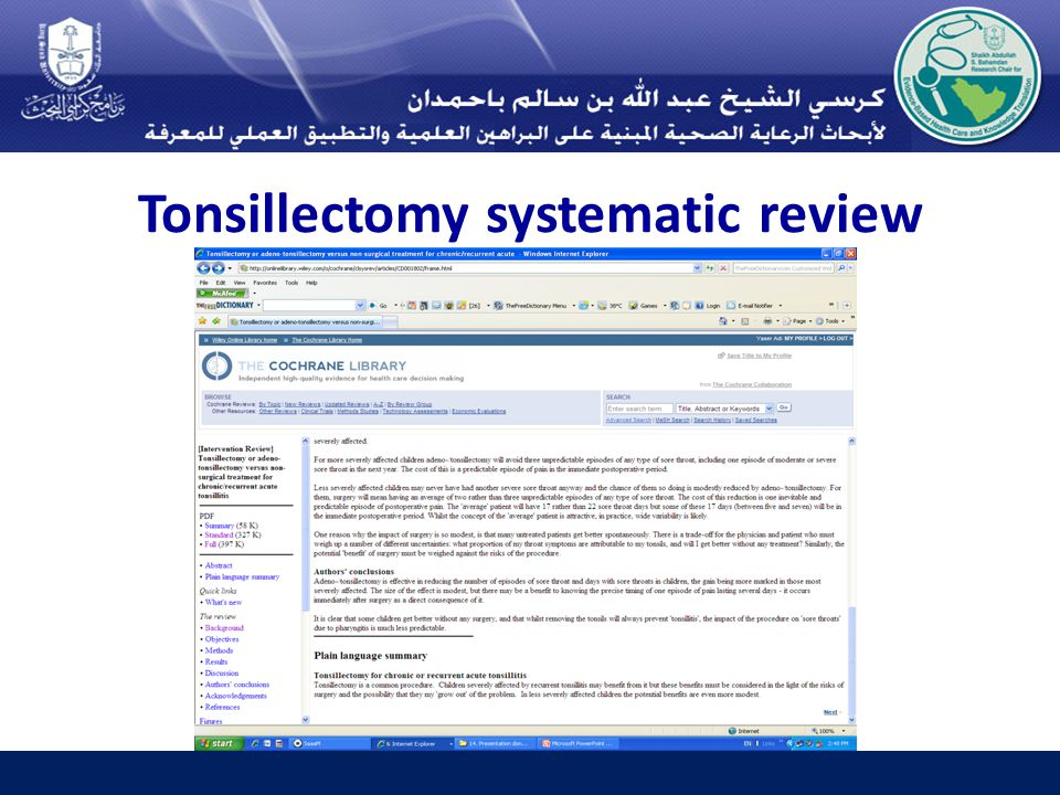 Tonsillectomy systematic review