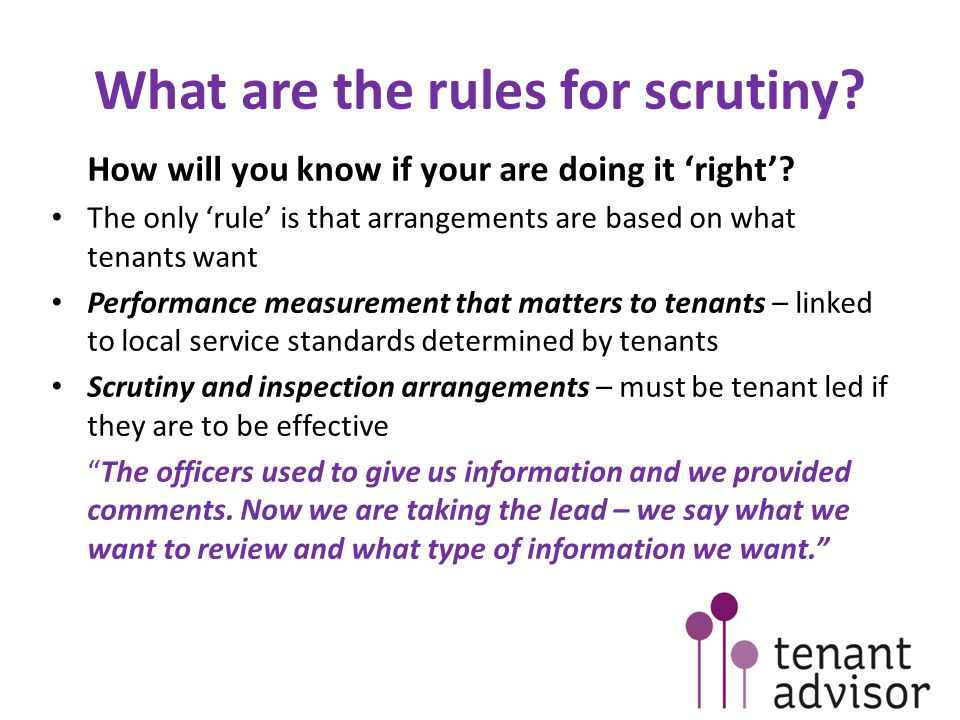 Is scrutiny different to traditional tenant involvement.