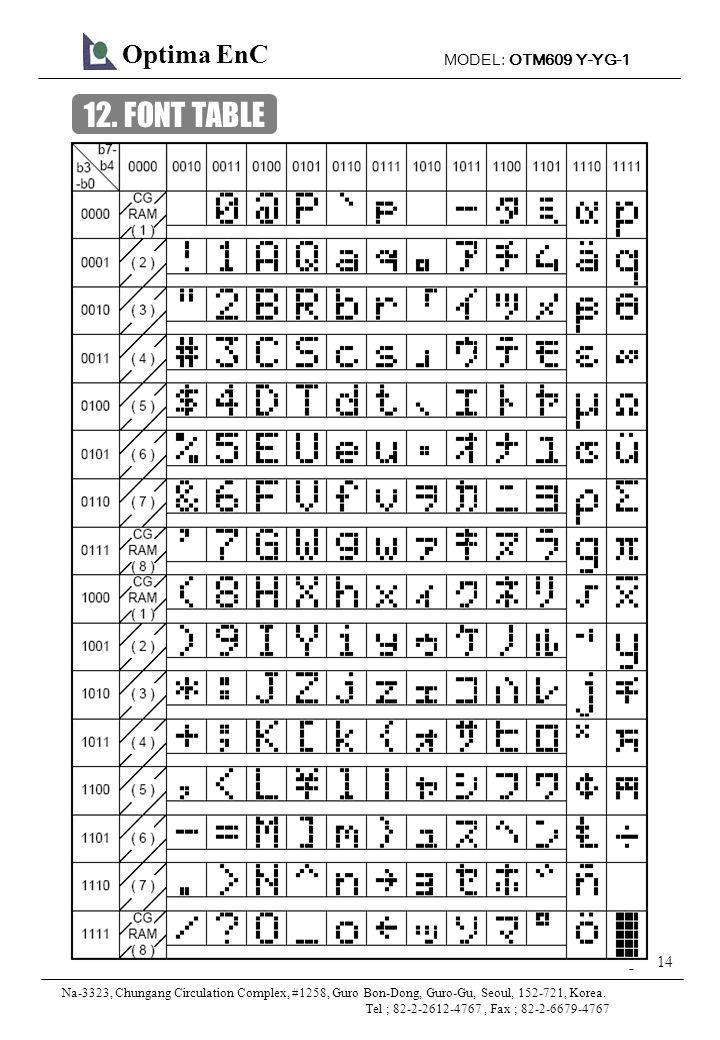MODEL: OTM609 Y-YG-1 14 Page: Optima EnC Na-3323, Chungang Circulation Complex, #1258, Guro Bon-Dong, Guro-Gu, Seoul, 152-721, Korea.