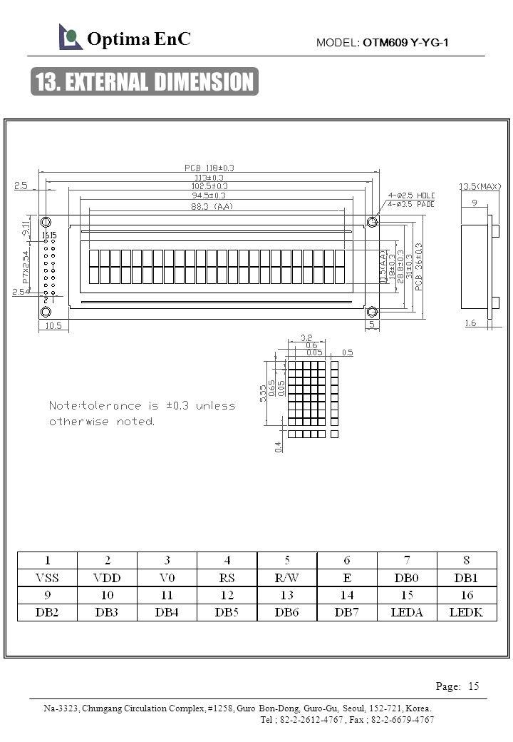 MODEL: OTM609 Y-YG-1 15 Page: Optima EnC Na-3323, Chungang Circulation Complex, #1258, Guro Bon-Dong, Guro-Gu, Seoul, 152-721, Korea.
