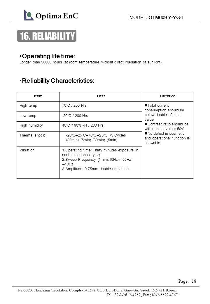 MODEL: OTM609 Y-YG-1 18 Page: Optima EnC Na-3323, Chungang Circulation Complex, #1258, Guro Bon-Dong, Guro-Gu, Seoul, 152-721, Korea.