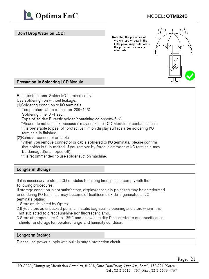 MODEL: OTM824B 21 Page: Optima EnC Na-3323, Chungang Circulation Complex, #1258, Guro Bon-Dong, Guro-Gu, Seoul, 152-721, Korea.