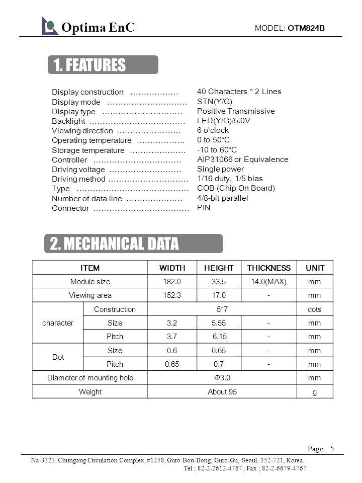 MODEL: OTM824B 6 Page: Optima EnC Na-3323, Chungang Circulation Complex, #1258, Guro Bon-Dong, Guro-Gu, Seoul, 152-721, Korea.