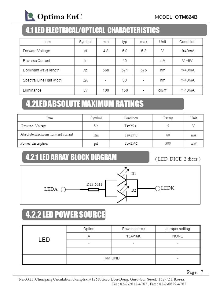 MODEL: OTM824B 8 Page: Optima EnC Na-3323, Chungang Circulation Complex, #1258, Guro Bon-Dong, Guro-Gu, Seoul, 152-721, Korea.