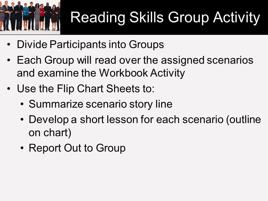 Reading Skills Group Activity Divide Participants into Groups Each Group will read over the assigned scenarios and examine the Workbook Activity Use the Flip Chart Sheets to: Summarize scenario story line Develop a short lesson for each scenario (outline on chart) Report Out to Group