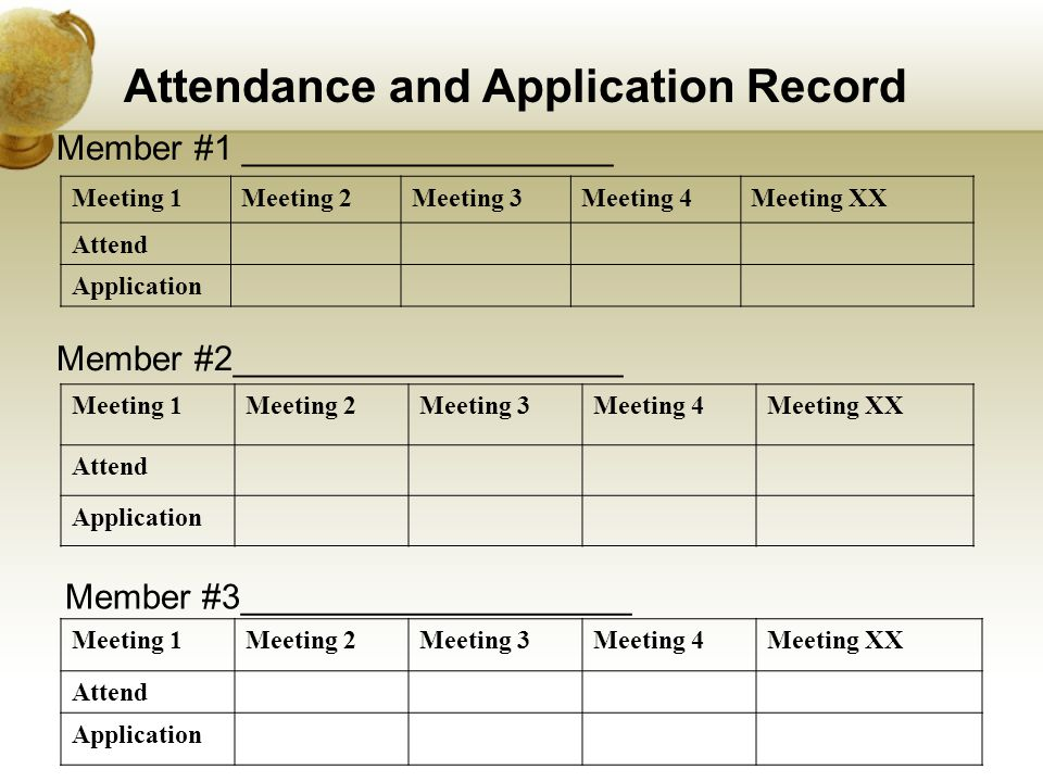 . Member #1 ___________________ Meeting 1Meeting 2Meeting 3Meeting 4Meeting XX Attend Application Member #2____________________ Meeting 1Meeting 2Meeting 3Meeting 4Meeting XX Attend Application Member #3____________________ Meeting 1Meeting 2Meeting 3Meeting 4Meeting XX Attend Application Attendance and Application Record