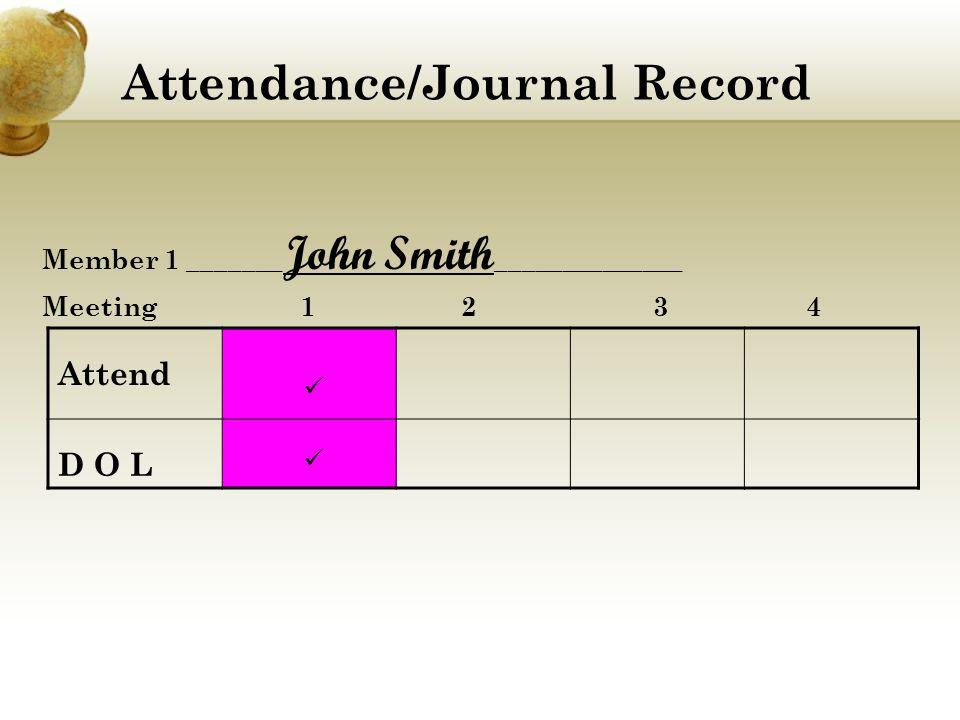 Attendance/Journal Record Member 1 _______ John Smith ______________ Meeting 1 2 3 4 Attend D O L