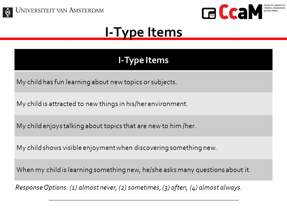 I-Type Items My child has fun learning about new topics or subjects. My child is attracted to new things in his/her environment. My child enjoys talki