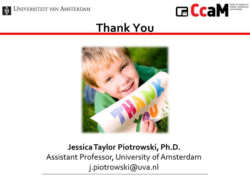 Thank You Jessica Taylor Piotrowski, Ph.D. Assistant Professor, University of Amsterdam j.piotrowski@uva.nl