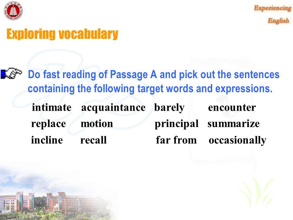 Read and Explore Passage A Freshman Friendship Lexical Preparation