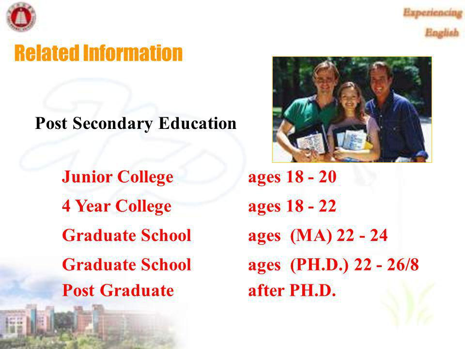 Related Information Secondary Education Junior High School ages 12 - 14 High School ages 14 - 18