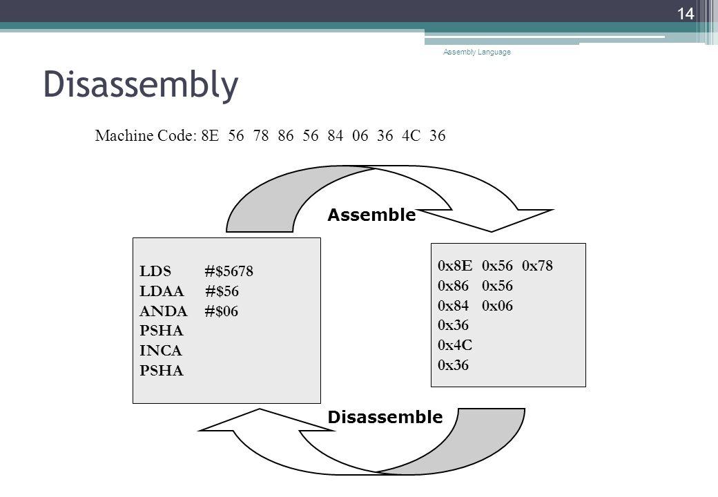 Disassembly Assembly Language 14 LDS #$5678 LDAA #$56 ANDA #$06 PSHA INCA PSHA 0x8E 0x56 0x78 0x86 0x56 0x84 0x06 0x36 0x4C 0x36 Assemble Disassemble Machine Code: 8E 56 78 86 56 84 06 36 4C 36