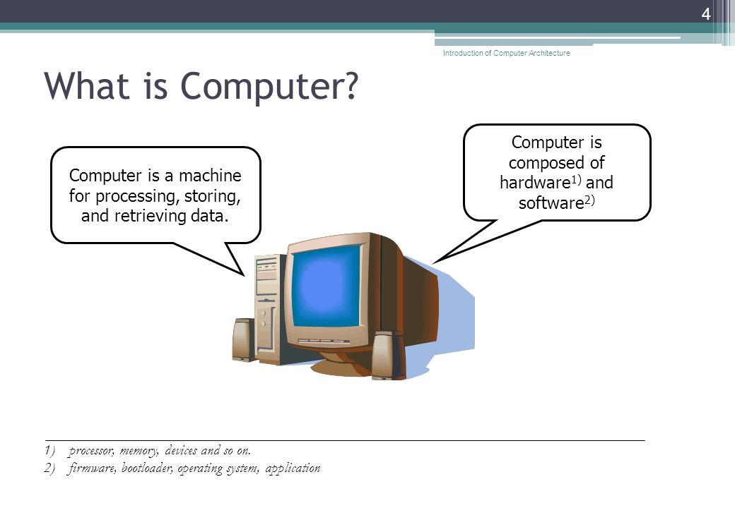 What is Computer. 4 Computer is a machine for processing, storing, and retrieving data.