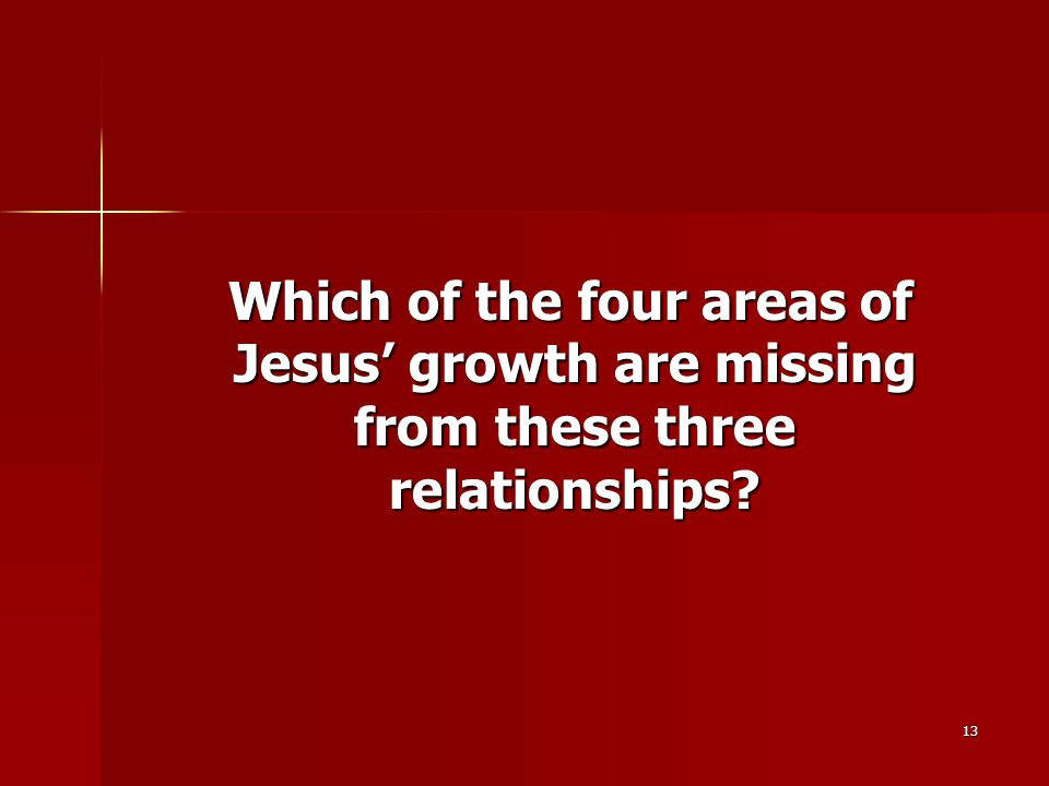 13 Which of the four areas of Jesus' growth are missing from these three relationships.