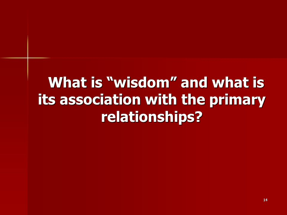 "14 What is ""wisdom"" and what is its association with the primary relationships? What is ""wisdom"" and what is its association with the primary relation"