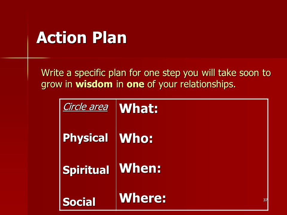 37 Write a specific plan for one step you will take soon to grow in wisdom in one of your relationships.